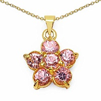 8.29 Grams Light Pink Glass Floral Shape Pendant