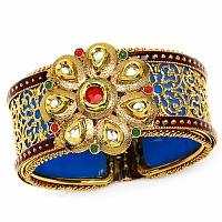 Traditional Polki Gold Plated Meenakri Rajwadi Jali Work Blu
