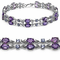 10.36CTW Genuine Amethyst & Tanzanite .925 Sterling Silver B