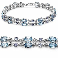 14.36CTW Genuine Blue Topaz & Tanzanite .925 Sterling Silver