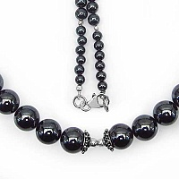 "73.00 Grams Hematite 18.00"" Long .925 Sterling Silver Beads"