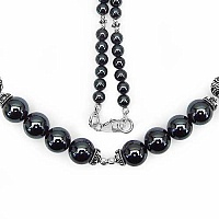 "72.80 Grams Hematite 18.00"" Long .925 Sterling Silver Beads"
