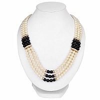 Traditional Gold Plated Multi Strand White Pearl Fashion Nec