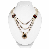 Traditional Two Tone Plated Red Multi Strand Pearl Necklace