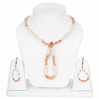 Gold Plated Women's Fashion Orange Stone and White Pearl Nec