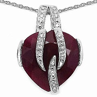 6.50CTW 14.00mm Heart Shape Dyed Ruby .925 Sterling Silver S
