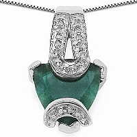 1.00CTW 7.00mm Trillion Shape Dyed Emerald .925 Sterling Sil