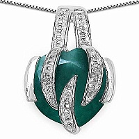 3.00CTW 10.00mm Heart Shape Dyed Emerald .925 Sterling Silver S