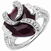 5.75CTW 13.00mm Heart Shape Dyed Ruby .925 Sterling Silver S