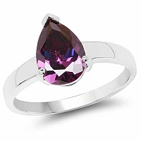 Purple Cubic Zirconia .925 Sterling Silver Solitaire Ring