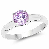 Light Purple Cubic Zirconia .925 Sterling Silver Solitaire R