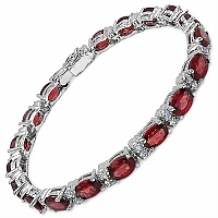 15.60 Grams Genuine Garnet & White Cubic Zirconia .925 Sterling