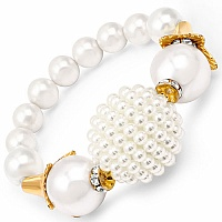 Adjustable White Stone Gold Plated Brass Pearl Bracelet