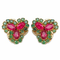 4.60 Grams Red & Green Cubic Zirconia Gold Plated Earrings