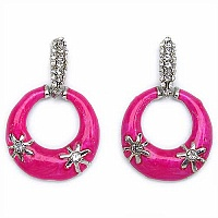 8.30 Grams White Cubic Zirconia Pink Enamel Earrings