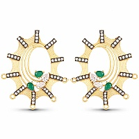 Green Stone & White Cubic Zirconia Gold Plated Brass Earring
