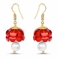 Red Stone Gold Plated Brass Jhumki Pearl Earrings