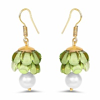 Green Stone Gold Plated Brass Jhumki Pearl Earrings