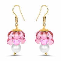 Pink Stone Gold Plated Brass Jhumki Pearl Earrings