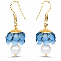 Blue Stone Gold Plated Brass Jhumki Pearl Earrings