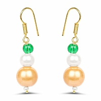 Yellow Synthetic Pearl & Green Gold Plated Brass Pearl Dangl