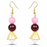 Light Pink Glass Gold Plated Brass Pearl Dangle Earrings
