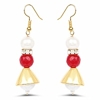 White Stone & Pink Gold Plated Brass Pearl Dangle Earrings