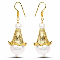 Gold Plated Brass Pearl Dangle Earrings