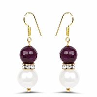 White Stone & Maroon Gold Plated Brass Pearl Dangle Earrings