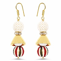 Multistone Gold Plated Brass Pearl Dangle Earrings