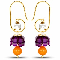 Traditional Designer Purple Pacchi Jhumki Drop Earrings for