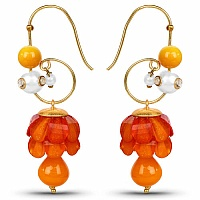 Traditional Designer Orange Pacchi Polki Jhumki Drop Earring
