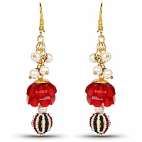 Traditional Designer Red Pacchi Jhumki Drop Earring for Wome