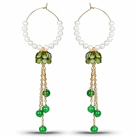 Traditional Designer White Pearl Green Pacchi Jhumki Hoop Ea