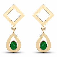 Gold Plated Contemporary Drop Earrings Studded With Green On