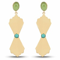Gold Plated Contemporary Dangle Earrings Studded With Turquo