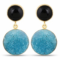 Designer Gold Plated Fashion Black & Blue Drusy Dangle Drop