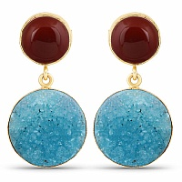 Designer Gold Plated Fashion Red Drusy Dangle Drop Earrings