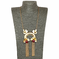Gold Plated Designer Dyed Ruby Tassel Necklace for Women
