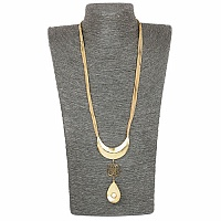 Gold Plated Pear Drop Statement Necklace for Women