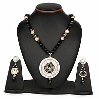 Multistone Gold Plated Brass Pacchi Thewa Necklace Set