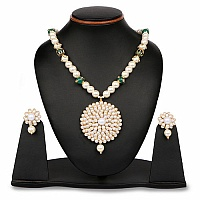 White Synthetic Pearl, Green Stone & Polki Gold Plated Brass