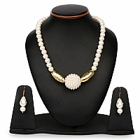 Polki Gold Plated Brass Pearl Necklace Set
