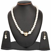 White Synthetic Pearl & Cubic Zirconia Polki Gold Plated Bra