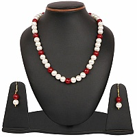 White Synthetic Pearl & Red Glass Gold Plated Brass Multi La