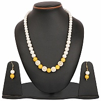 White Synthetic Pearl & Yellow Glass Gold Plated Brass Multi