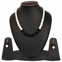 White Synthetic Pearl & Black Glass Gold Plated Brass Multi