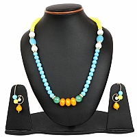 Multistone Gold Plated Brass Multi Layered Necklace Set