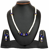 White Synthetic Pearl & Blue Glass Gold Plated Brass Multi L