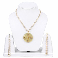 Designer Gold Plated Necklace Set For Women Studded With Mul
